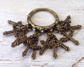 LAST ONE Multi Cross Charm Ring Rhinestone Antiqued Brass sz 6