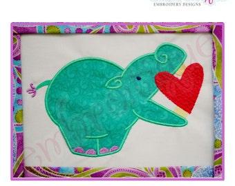 Hippo with a Heart Applique Valentine's day - Large- Instant Download -Digital Machine Embroidery Design