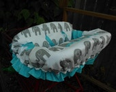 GREY ELEPHANTS and Aqua Blue w/ Ruffle Fully Padded Boutique Shopping Cart Cover - More Colors Available Hot Pink, Purple, Green