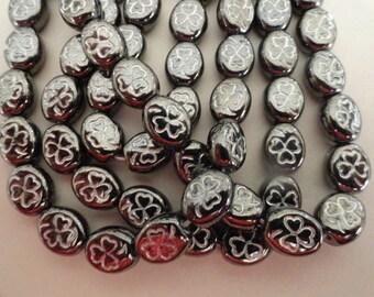 Czech Glass Flowers Clovers Shamrocks Hematite Grey Silver Etching Plants Beads 9/10mm Earrings Bracelets Necklaces Crafts St Patricks 12