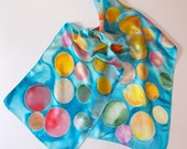Silk Scarf, Hand Designed, Pink, Green,Yellow,Blue,Bubbles, Bubbles, Bubbles, Silk Satin,or Table Runner