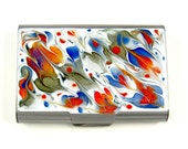 Large Metal Card Case Hand Painted Enamel Orange and Blue Swirl Design Custom with Personalized and Colors Options