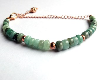 rose gold emerald bracelet, rose gold coated pyrite, dainty stacking bracelet, birthstone jewellery, flower charm, unique, one of a kind