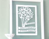 Personalized Wedding Anniversary Papercut Art, gift for anniversary, anniversary gift, paper anniversary gift, gift for wife