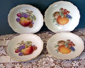 4 Schumann Arzberg Germany China Dessert Plates, Germany, Oranges, , Apple, Grapes, Nectarine, Serving Plates, Tea Time, Gold