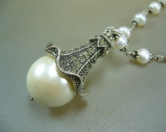 Victrorian Style Pearl Marcasite Wire Wrapped Necklace