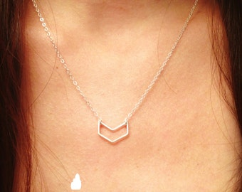 NEW Mini Chevron Sterling Silver Simple Necklace - Small Chevron Charm Suspended Sterling Silver - Wedding Jewelry - Simple Everyday Dainty
