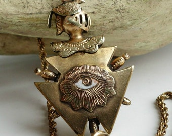 Odd Fellows Eye and Skull Pendant Fob Necklace