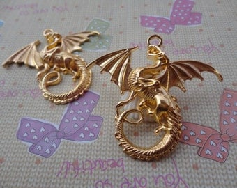10pcs 44mmx47mm flying dragon with wing Gold Plated Retro Pendant Charm For Jewelry Pendant
