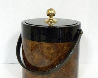 Vintage Ice Bucket --  Brown and Black Vinyl Ice Bucket with plastic insert -- Morgan Designs by Bucket Brigade