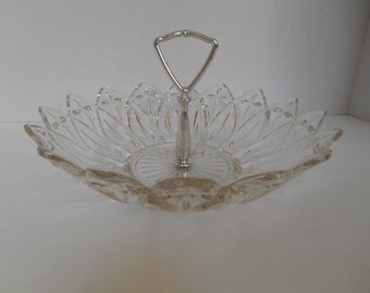 Vintage Candy Mint Nut Dish -- Pressed Clear Glass round dish with silver handle and scalloped edge