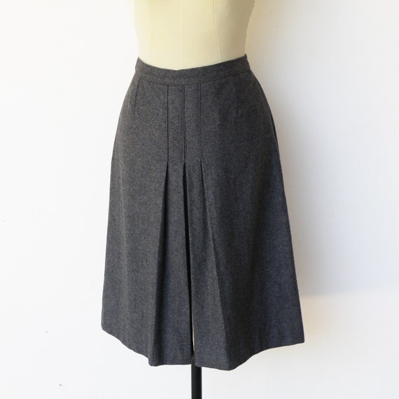 vintage slate gray pleated wool skirt size s by