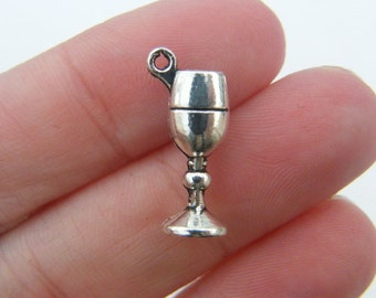 6 Wine glass goblet charms antique silver tone FD9
