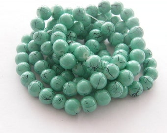 103 Green turquoise glass beads B131