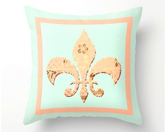 Fleur de Lis decorative throw pillow, accent cushion, mint green and peach, bedding, pillow covers, cushion covers, scatter cushion