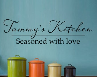 Personalized Name Decal - Kitchen Wall Decal - Seasoned with love - Large