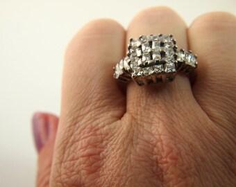 Rhinestone Ring - Sterling Silver - Vintage
