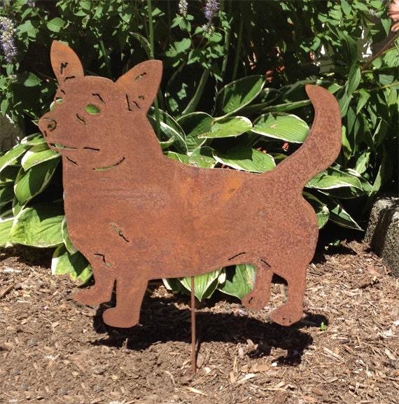 Corgi Garden Stake or Wall Hanging / Cardigan Welsh Corgi / Pet Memorial / Rusty / Garden Art / Lawn Ornament / Metal / Shadow / Silhouette