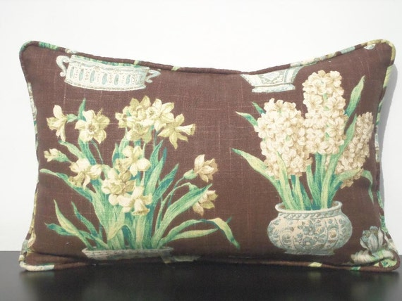 Brown lumbar pillow cover 18x12, small chair cushion asian home decor, flower pillow with piping, brown and teal cushion cover