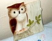 Vintage Owl Trivet Wall Hanging Otagiri Japan 1984 Porcelain Hoot Owl