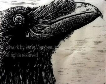 """Raven artwork , Raven, crow.  Relief print.  18"""" x 18"""" on Thai Kaso Paper. 2014"""