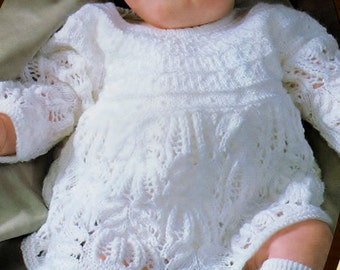 Baby Knitting PATTERN for Baby dress in 3ply -18 to 20 inch - Christening Blessing Day Baptism heirloom