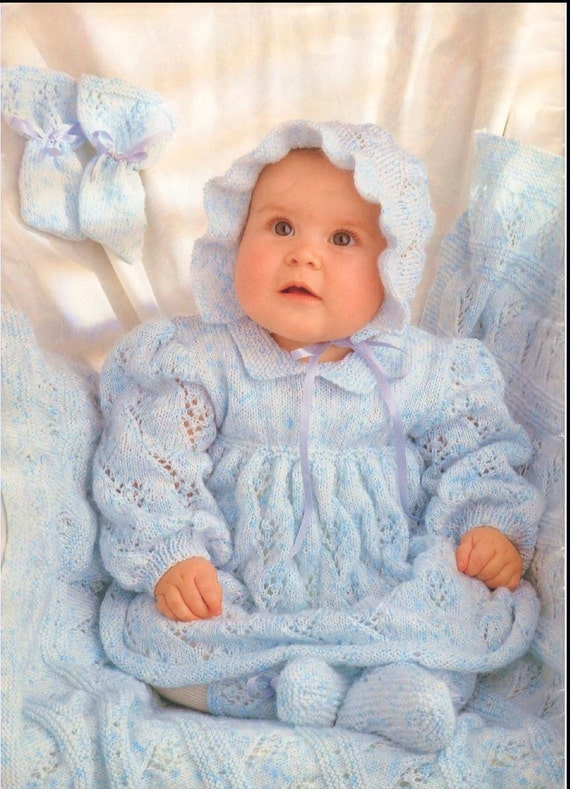 Vintage Design Baby Knitting Pattern Dress Bonnet Booties