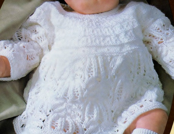 Knitting Pattern Baby Girl Dress : Baby Knitting PATTERN for Baby dress in 3ply 18 to 20 inch