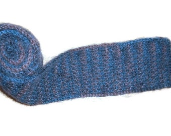 Honeycomb Unisex Scarf Mohair Blend Blue/Brown Variegated