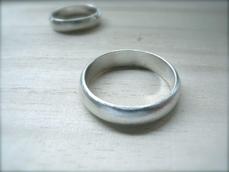 Simple Wedding Band Set Brushed Matte Silver 5mm Wide Ring