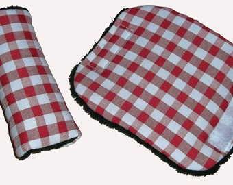Baby Red GINGHAM Check Car Seat Pram Cart Harness Cover Belt Pads - Travel Aid
