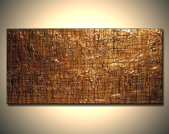 Abstract Gold Metallic Painting Original Modern Textured Contemporary Artwork On Canvas By Henry Parsinia Ready To Hang 48x24
