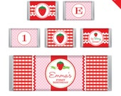 Strawberry Party - Personalized DIY printable Hershey bar labels