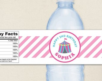 Pink Carnival or Circus Party - 100% waterproof personalized water bottle labels