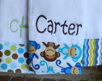 Burp cloth, baby boy burp cloth, Personalized baby boy burp cloth set