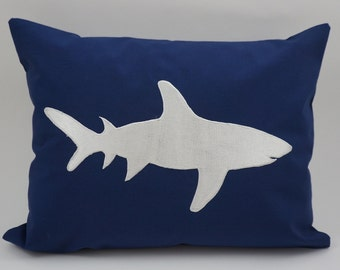 "Shark Pillow Cover, Embroidery, Nautical Pillow, Beach decor, Decorative Pillow, Accent Pillow, 12""x16"", Navy, Ready to ship"