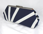 Geo Navy white clutch lined with contrast color faux silk - Framed Clutch-  Purse - Bag