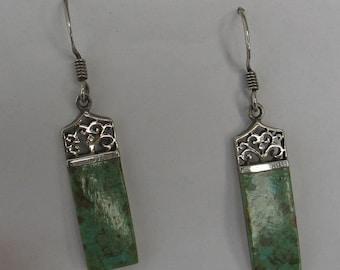 SALE Vintage Sterling  Green Turquoise   Earrings