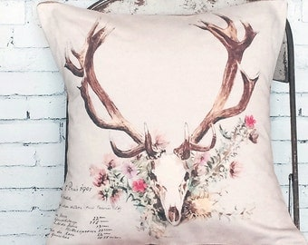 Pillow Cover Floral Deer Antlers Woodland Pillow