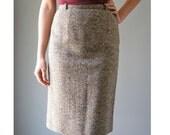 Vintage Tweed Skirt | 1950s Brown and Cream Wool Pencil Skirt
