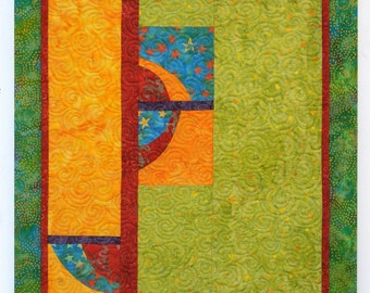 "Bright Quilted Contemporary Wall Hanging - ""Mango Salsa"""