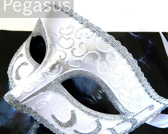 Silver Winter White Venetian Paper Clay Silver trimmed Mask (1 Mask) lightweight Masquerade mask for costume balls, mardi gras, wedding