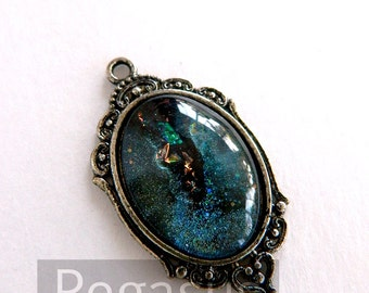 Pisces Blue Opal Galaxy Glass Jewelry Silver Cabochon Pendant (1 Piece,25x18mm)(F09) for wedding favor,gift,costume,steampunk