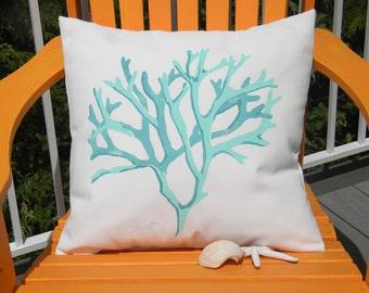 "Outdoor pillow DEAD MAN'S FINGERS aqua seaweed 20"" kelp algae  coastal shoreline beachcombing shelling flotsam jetsam Crabby Chris Original"