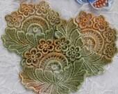 Lace Flowers Hand Dyed Venise Crazy Quilt Applique Embellishment
