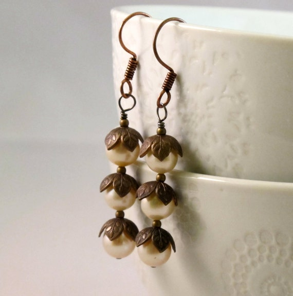 Lily of the Valley - Winter Earrings - Light Pink Pearl Flowers, Elegant WinterEarrings, Shiny, Light, Summer, Copper