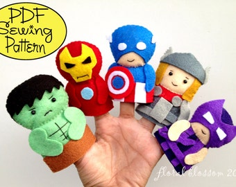 Digital Pattern: Superheroes Felt Finger Puppets