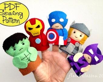 Digital Pattern: Superheroes Felt Finger Puppets