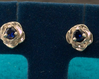 Blue Sapphire Rose Flower Stud Earrings