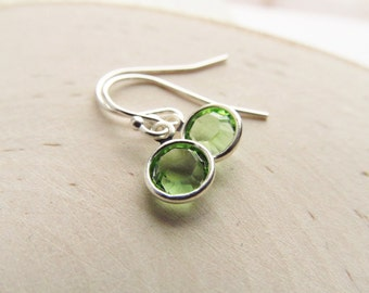 Birthstone Earrings, Sterling Silver Swarovski Crystal, Dangle Earrings, Birthstone Jewelry, Peridot Earrings, August Birthstone Earrings